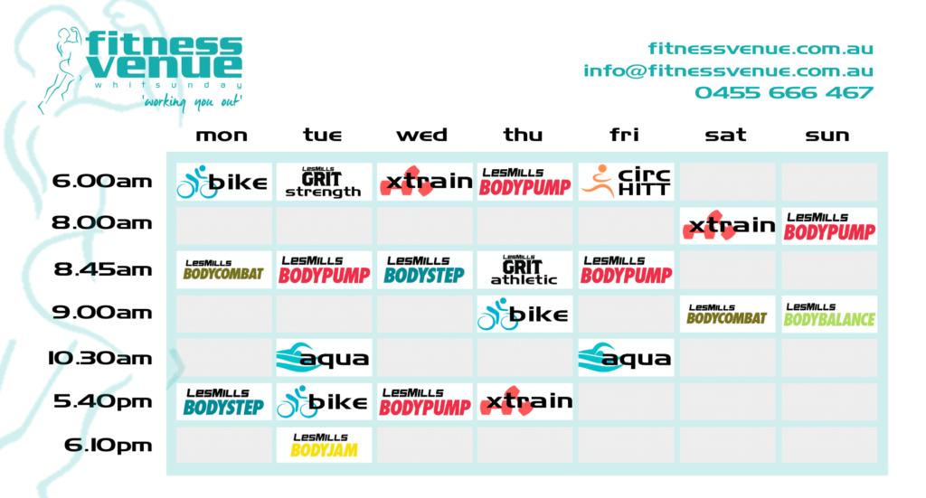 Fitness Venue timetable Cannonvale