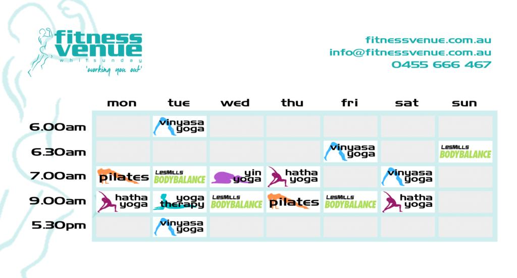 Fitness Venue timetable