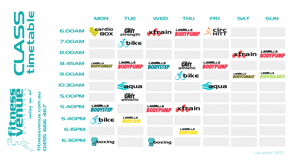 Fitness Venue Class Timetable As At 19 Feb 21